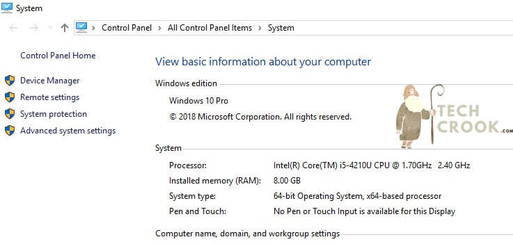 Windows 10 processor name