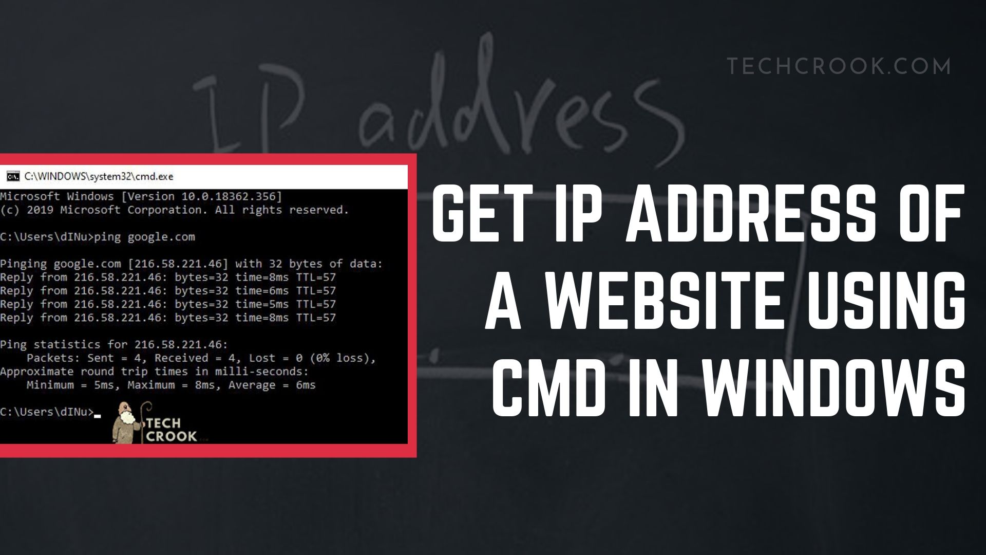 How to find the IP Address of a website using cmd in Windows