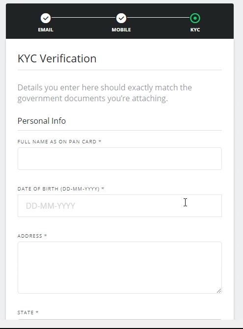 How to Register and fill KYC in WazirX