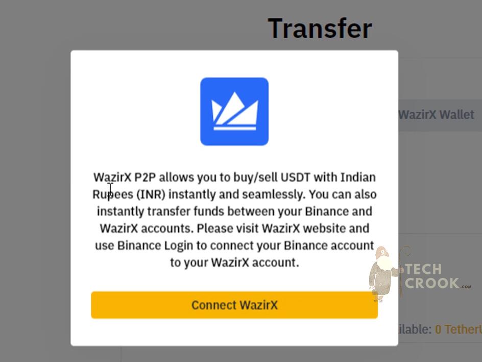 connect WazirX with Binance account